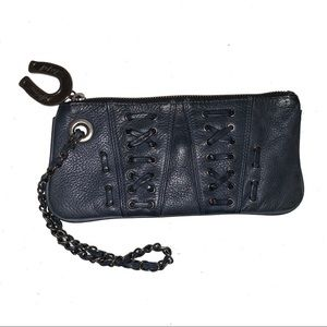 Betsey Johnson Wristlet Blue Leather